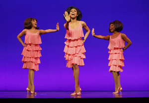 "Krisha Marcano (Florence Ballard), Allison Semmes (Diana Ross) & Trisha Jeffrey (Mary Wilson) in ""Motown: The Musical."" Photo by Joan Marcus."