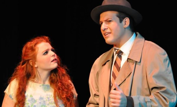 "Kinsey Gregg and Luke Holt in ""Curtains."" Photo courtesy of Limestone College Communications Office"