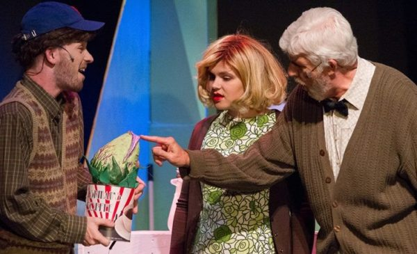 "Andy Lecture, Maggie Fowler and Hugh Murphy in ""Little Shop of Horrors."" Photo by Christopher Burkard Photography"